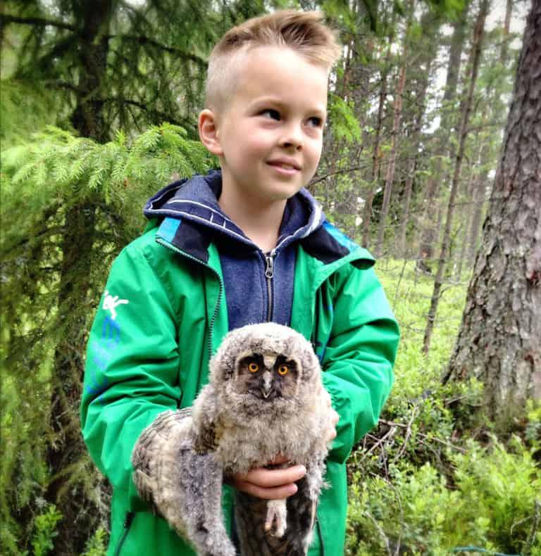 Taavetti ja sarvipöllön poikanen. Kuva: Ari-Pekka Auvinen.